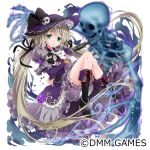 1girl absurdly_long_hair animal black_footwear dress flower full_body green_eyes hat hijiri_creator_onna_gakuen holding holding_animal knees_up long_hair long_sleeves parted_lips platform_footwear purple_dress purple_flower purple_hat rabbit red_eyes sitting skeleton skull_hat_ornament solo twintails very_long_hair white_background