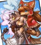 1boy 1girl animal_ears arm_around_shoulder bangs blanc_(solatorobo) blue_eyes blush border brown_gloves capelet cat_ears cat_girl cat_tail clouds dakusuta dog_ears earrings elh_melizee eyebrows_visible_through_hair facial_mark fur_trim furry gloves goggles goggles_on_head hair_between_eyes hand_on_another's_shoulder height_difference highres holding_hand jewelry long_hair nero_(solatorbo) outside_border red_capelet red_savarin short_hair smile solatorobo tail yellow_eyes