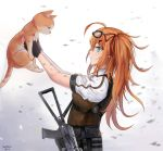 1girl ahoge aks-74u alternate_costume assault_rifle blonde_hair blue_eyes blush breasts cat dated dirty eyebrows_visible_through_hair eyewear_on_head from_side girls_frontline gloves gun hair_between_eyes hair_ornament hair_ribbon highres holding holding_cat injury kalina_(girls_frontline) large_breasts load_bearing_equipment long_hair looking_at_animal red_ribbon ribbon rifle sechka shirt side_ponytail signature smile sunglasses vest weapon
