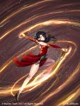 1girl adsouto anklet artist_name bare_shoulders black_hair breasts choker cinder_fall dress dual_wielding glowing glowing_eye hair_over_one_eye high_heels highres holding jewelry long_hair looking_at_viewer medium_breasts motion_lines official_art red_dress rwby solo sword tattoo watermark weapon yellow_eyes