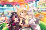 3girls :d @_@ ahoge amusement_park beanie beanie_ear_flaps blank_eyes closed_eyes cup drill_hair eyebrows_visible_through_hair eyepatch fang frills hair_ornament hat hayasaka_mirei hood hoodie hoshi_shouko hug idolmaster idolmaster_cinderella_girls idolmaster_cinderella_girls_starlight_stage jacket leather leather_jacket light_brown_hair long_hair morikubo_nono multicolored_hair multiple_girls official_art open_mouth plaid plaid_skirt purple_hair redhead shaded_face short_hair silver_hair skirt smile spinning teacup teapot two-tone_hair wavy_mouth