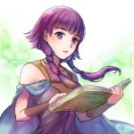 1girl book cape fire_emblem fire_emblem:_seima_no_kouseki holding holding_book jewelry long_hair low_twintails lute_(fire_emblem) necklace nintendo open_book parted_lips purple_hair sleeveless solo twintails upper_body violet_eyes yukimiyuki