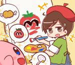 +++ 1girl :d adeleine bangs beret blue_eyes blue_skirt blush boned_meat brown_eyes brown_hair candy canvas_(object) creature easel eye_contact eyebrows_visible_through_hair food green_shirt hat holding holding_paintbrush invincible_candy kirby kirby_(series) lollipop looking_at_another looking_to_the_side maxim_tomato meat naga_u nintendo open_mouth paintbrush painting red_hat shirt short_sleeves skirt smile sweatdrop swirl_lollipop
