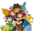 1girl 3boys :d baseball_cap black_hair black_shirt blue_jacket blue_pants brown_hair brown_pants brown_shorts closed_eyes creatures_(company) game_freak gen_1_pokemon gen_3_pokemon gintarou_(puipuiginta) gloves grin haruka_(pokemon) hat hug jacket long_hair masato_(pokemon) mudkip multiple_boys nintendo open_mouth pants petting pikachu poke_ball_print pokemon pokemon_(anime) red_bandana red_hat red_shirt satoshi_(pokemon) shirt short_sleeves shorts sleeveless_jacket smile takeshi_(pokemon) torchic treecko white_gloves