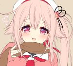 1girl barrett blush close-up commentary_request eyebrows_visible_through_hair hair_between_eyes hair_flaps hair_ribbon harusame_(kantai_collection) heart kantai_collection looking_at_viewer open_mouth pink_eyes pink_hair ribbon ringo_sui scarf school_uniform serafuku simple_background solo sweater