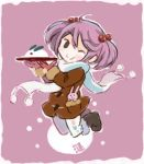 1girl animal_print boots bunny_print coat gloves hair_between_eyes hair_bobbles hair_ornament kantai_collection long_sleeves one_eye_closed otoufu pantyhose pink_background pink_eyes pink_hair plate rabbit sazanami_(kantai_collection) scarf smile snow_bunny snowing twintails winter_clothes winter_coat