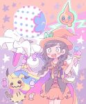 1girl basket blacephalon black_hair braid candy cape creatures_(company) dress food game_freak gen_4_pokemon gen_7_pokemon halloween_costume hat highres ice_cream_cone long_hair mimikyu mizuki_(pokemon) nintendo open_mouth pokemon pokemon_(creature) pokemon_(game) pokemon_usum remoooon rotom smile twin_braids ultra_beast witch_hat