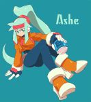 1girl arm_support ashe_(rockman) blue_background character_name energy_tank full_body gloves green_eyes hair_between_eyes head_tilt high_heels high_ponytail kon_(kin219) legs_crossed long_hair long_sleeves ponytail rockman rockman_zx rockman_zx_advent shoes simple_background sitting solo very_long_hair
