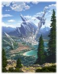 battlement beach blue_sky border bridge canal castle city clouds cloudy_sky commentary_request day fading_border fantasy forest grass highres lake magewappa_z mountain mountaintop nature no_humans original outdoors path road scenery sky spikes statue sword tower tree water weapon