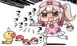 1girl :d apron bandage bandaged_arm bandages blush bow chibi collared_shirt creatures_(company) crossover fang game_freak gen_1_pokemon hair_bow hat heart holding holding_poke_ball kanikama light_brown_hair lowres natori_sana nintendo nurse_cap open_mouth pink_apron pink_bow pink_footwear pink_hat pleated_skirt poke_ball poke_ball_(generic) pokemon pokemon_(creature) red_eyes sana_channel shirt side_ponytail sidelocks skirt smile standing standing_on_one_leg sweat thigh-highs translation_request virtual_youtuber weedle white_background white_legwear white_shirt white_skirt