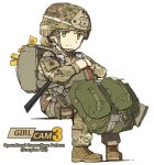 1girl american_flag backpack bag blonde_hair camouflage copyright_name graphite_(medium) green_eyes helmet looking_at_viewer military military_uniform original patch simple_background sitting smile soldier solo tantu_(tc1995) traditional_media uniform us_army white_background