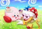 1boy blue_eyes blue_sky blush blush_stickers bow bowtie cake claws clouds commentary_request fang feeding field food food_on_face fork grass hal_laboratory_inc. half-closed_eyes hallons_kabo hat heart hoshi_no_kirby hoshi_no_kirby_super_deluxe icing jester_cap kirby kirby:_star_allies kirby_(series) kirby_super_star marx nintendo no_humans open_mouth petals plate red_bow red_neckwear sitting sky smile sweatdrop violet_eyes wings yellow_wings