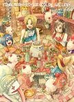black_hair blonde_hair bodysuit breasts cleavage commentary_request deboo eiko_carol final_fantasy final_fantasy_ix garnet_til_alexandros_xvii gloves long_hair mog moogle multiple_boys multiple_girls orange_bodysuit quina_quen short_hair traditional_media treasure_chest vivi_ornitier watercolor_(medium) zidane_tribal