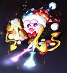 1boy bow bowtie claws commentary_request dark_background fangs flying glowing gradient gradient_background hallons_kabo hat heart hexagon highres jester_cap kirby_(series) magic marx nintendo no_humans open_mouth red_bow red_neckwear scales smile solo sparkle violet_eyes wings yellow_wings