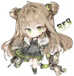 1girl ahoge black_choker black_dress blush boots bow breasts brown_hair bullpup camouflage_jacket character_name chibi choker commentary_request double_bun dress full_body fur-trimmed_jacket fur_trim girls_frontline green_bow green_eyes green_footwear green_jacket green_legwear gun hair_bow head_tilt jacket kel-tec_rfb kotatu_(akaki01aoki00) long_hair long_sleeves looking_at_viewer object_namesake off_shoulder parted_lips puffy_long_sleeves puffy_sleeves revision rfb_(girls_frontline) rifle side_bun simple_background sleeveless sleeveless_dress small_breasts smile socks solo standing striped striped_legwear stuffed_animal stuffed_toy teddy_bear vertical-striped_legwear vertical_stripes very_long_hair weapon white_background