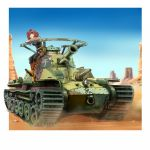1girl artist_request breasts brown_eyes caterpillar_tracks comiket_88 desert ground_vehicle metal_max military military_vehicle motor_vehicle redhead sarukichi_(chiekichi) short_hair sky tank type_97_chi-ha