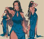 arm_behind_head armpits back beer_mug beret black_hair blue_dress blue_eyes bodypaint breasts cleavage dark_skin dress drinking earrings fate/grand_order fate_(series) forehead genderswap genderswap_(mtf) geronimo_(fate/grand_order) hand_on_hip hat high_heels jewelry kbtmsboy large_breasts long_hair sleeveless sleeveless_dress very_long_hair