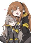2girls 404_logo_(girls_frontline) artist_request brown_hair closed_eyes commentary_request eyebrows_visible_through_hair girls_frontline grey_hair highres hood hooded_jacket jacket multiple_girls petting scar scar_across_eye siblings sisters sweatdrop twins twintails ump45_(girls_frontline) ump9_(girls_frontline) younger