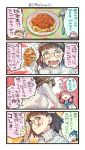 3girls 4koma akashi_(kantai_collection) anger_vein bangs blue_sailor_collar blunt_bangs brown_eyes brown_hair closed_eyes comic commentary_request food fork glasses hair_ribbon headdress highres houshou_(kantai_collection) kantai_collection long_hair multiple_girls nonco open_mouth pasta pince-nez pink_hair ribbed_sweater ribbon roma_(kantai_collection) sailor_collar school_uniform serafuku spaghetti sweater translation_request tress_ribbon upper_body wavy_hair white_sweater