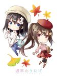 2girls autumn_leaves bag bag_charm bangs beret between_breasts black_footwear black_legwear black_ribbon blue_pants blush boots breasts brown_footwear brown_hair cabbie_hat charm_(object) chibi closed_mouth collared_shirt commentary_request denim eyebrows_visible_through_hair flower hair_between_eyes hair_flower hair_ornament hairclip hat highres index_finger_raised jeans knee_boots leaf long_hair long_sleeves looking_at_viewer maple_leaf medium_breasts multiple_girls original pants pink_shirt ponytail red_eyes red_hat red_skirt ribbon shiro_kuma_shake shirt shoulder_bag shoulder_cutout simple_background skirt sleeves_past_wrists small_breasts smile star star_hair_ornament strap_cleavage sweater thigh-highs thighhighs_under_boots turtleneck turtleneck_sweater very_long_hair white_background white_flower white_hat white_sweater