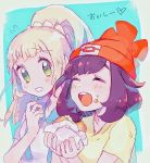 2girls beanie black_hair blonde_hair closed_eyes creatures_(company) eating food food_on_face game_freak green_eyes hat highres lillie_(pokemon) long_hair malasada mizuki_(pokemon) mu_acrt multiple_girls nintendo open_mouth pokemon pokemon_(game) pokemon_sm ponytail red_hat shirt short_hair short_sleeves simple_background white_shirt