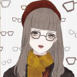 1girl bangs beret black_coat black_stripes blunt_bangs brown-framed_eyewear closed_mouth eyelashes glasses hat head_tilt highres kuromitsu light_brown_eyes light_brown_hair long_hair looking_at_viewer original polka_dot red_hat red_lips scarf solo striped striped_background vertical-striped_background vertical_stripes white_background white_hair white_polka_dots yellow_scarf