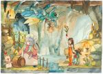 1girl animal black_hair blonde_hair bodysuit breasts brown_eyes choker commentary_request deboo final_fantasy final_fantasy_ix flower garnet_til_alexandros_xvii gloves long_hair moogle multiple_boys orange_bodysuit quina_quen smile tail vivi_ornitier wings zidane_tribal