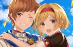 1boy 1girl :d bangs blonde_hair blue_sky brown_eyes clouds couple day djeeta_(granblue_fantasy) gran_(granblue_fantasy) granblue_fantasy grin hairband hand_on_another's_shoulder looking_at_viewer myusha one_eye_closed open_mouth outdoors parted_bangs petals portrait red_hairband shiny shiny_hair short_hair short_sleeves sky smile
