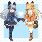 2girls :d adapted_costume animal_ears black_gloves black_legwear black_neckwear blonde_hair blue_bow blue_coat boots bow bow_footwear commentary extra_ears eyebrows_visible_through_hair eyes_visible_through_hair ezo_red_fox_(kemono_friends) fang fox_ears fox_tail frilled_skirt frills full_body fur-trimmed_sleeves fur_trim gloves gradient_hair grey_hair hair_between_eyes hair_bow hands_together heart kemono_friends knee_boots legs_crossed long_hair long_sleeves looking_at_viewer multicolored_hair multiple_girls necktie open_mouth orange_bow orange_coat orange_neckwear pantyhose silver_fox_(kemono_friends) simple_background skirt smile tail white_neckwear yellow_eyes yellow_legwear yukiko_haotome