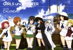 :d absurdres arms_up blue_sky bow bowtie brown_eyes brown_hair calendar_(medium) cape clenched_hand closed_eyes copyright_name cutlass_(girls_und_panzer) day eyebrows_visible_through_hair flint_(girls_und_panzer) girls_und_panzer grass grey_eyes grey_hair ground_vehicle hand_on_hip hat headphones highres kawashima_momo maid maid_headdress mark_v_(tank) microphone midriff military military_vehicle motor_vehicle mountain murakami_(girls_und_panzer) neckerchief nishizumi_miho ogin_(girls_und_panzer) ooarai_school_uniform open_mouth outdoors panzerkampfwagen_38(t) pipe pipe_in_mouth redhead rum_(girls_und_panzer) sailor sailor_hat skirt sky smile standing tank title_page