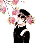 1boy black_hair blue_eyes devil_summoner flower hat kamizawa_(sark) kuzunoha_raidou male_focus shin_megami_tensei sideburns simple_background solo tree white_background
