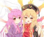 2girls :d animal_ears artist_name aura bangs black_dress black_jacket blazer blonde_hair blush breasts commentary_request crescent crescent_moon_pin dress eyebrows_visible_through_hair hair_between_eyes hand_on_another's_shoulder hand_up headdress highres jacket junko_(touhou) long_hair long_sleeves looking_at_viewer medium_breasts multiple_girls neck_ribbon necktie open_mouth pink_neckwear purple_hair rabbit_ears ramudia_(lamyun) red_eyes reisen_udongein_inaba ribbon shirt sidelocks simple_background smile tabard tassel touhou twitter_username upper_body v white_background white_shirt wide_sleeves yellow_neckwear yellow_ribbon