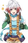 1girl :d antenna_hair banana bangs blue_shirt chocolate_banana collarbone cowboy_shot food fruit gloves green_gloves holding index_finger_raised kirimi_maguro looking_at_viewer multicolored_hair open_mouth orange_eyes orange_shorts pascal pouch redhead shirt short_hair short_sleeves shorts simple_background smile solo star suspender_shorts suspenders tales_of_(series) tales_of_graces teeth two-tone_hair white_background white_hair