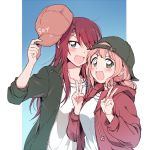 2girls :d ;d aqua_eyes backwards_hat bang_dream! bangs baseball_cap black_hat black_jacket blush double_v drawstring fang green_eyes hat holding holding_hat jacket long_hair long_sleeves looking_at_viewer low_twintails multiple_girls one_eye_closed open_mouth pink_hair re_ghotion red_hat red_jacket redhead shirt sleeves_pushed_up smile twintails udagawa_tomoe uehara_himari upper_body v v-shaped_eyebrows white_shirt
