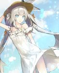 1girl arm_behind_back bangs blue_eyes blue_sky bow breasts cleavage clouds day dress dutch_angle eyebrows_visible_through_hair fate/grand_order fate_(series) floating_hair ginka_sima hand_on_headwear hat hat_bow lens_flare long_hair marie_antoinette_(fate/grand_order) marie_antoinette_(swimsuit_caster)_(fate) shiny shiny_hair silver_hair sky sleeveless sleeveless_dress small_breasts solo standing straw_hat striped striped_bow sun_hat sundress very_long_hair white_dress yellow_hat