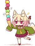1girl :o animal_ear_fluff animal_ears bangs bell bell_collar blonde_hair blush brown_collar collar eighth_note eyebrows_visible_through_hair food fox_ears fox_girl fox_tail full_body hair_between_eyes hair_bun hair_ornament holding holding_food ice_cream ice_cream_cone jingle_bell kemomimi-chan_(naga_u) long_hair looking_away musical_note naga_u orange_neckwear original outstretched_arm parted_lips pleated_skirt purple_skirt red_eyes red_footwear ribbon-trimmed_legwear ribbon_trim sailor_collar school_uniform serafuku shadow sidelocks skirt solo standing standing_on_one_leg tail tail_raised thigh-highs too_many too_many_scoops white_background white_legwear white_sailor_collar zouri