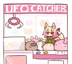 1girl :o animal_ear_fluff animal_ears bangs bell bell_collar blonde_hair blush brown_collar collar crane_game eyebrows_visible_through_hair fox_ears fox_girl fox_tail green_shirt hair_between_eyes hair_bun hair_ornament jingle_bell kemomimi-chan_(naga_u) long_hair looking_at_viewer naga_u orange_neckwear original parted_lips red_eyes sailor_collar shirt sidelocks solo stuffed_animal stuffed_bunny stuffed_toy tail white_background white_sailor_collar