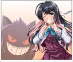 1girl black_hair bow bowtie breasts creatures_(company) cropped_jacket dress fang game_freak gen_1_pokemon gengar gradient gradient_background grey_legwear hair_ribbon hairband halterneck highres jacket kantai_collection large_breasts long_hair long_sleeves multicolored_hair naganami_(kantai_collection) nintendo one_eye_closed pink_hair pokemon pokemon_(creature) remodel_(kantai_collection) ribbon shirt sleeveless sleeveless_dress smile thigh-highs two-tone_hair wavy_hair white_jacket white_shirt yellow_eyes zanntetu