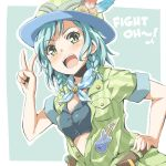 1girl :d aqua_background aqua_neckwear bang_dream! belt black_shirt blue_feathers blush bow breast_pocket brown_belt bucket_hat crop_top english green_eyes green_jacket hair_bow hand_on_hip hat hat_feather hikawa_hina jacket neckerchief open_clothes open_mouth open_shirt patch pocket red_feathers riai_(onsen) safari_jacket shirt short_hair short_sleeves side_braids sidelocks slit_pupils smile solo v vertical-striped_jacket yellow_bow