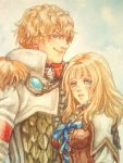 1boy 1girl blonde_hair blue_eyes blush bodice breasts brother_and_sister commentary_request gloves graphite_(medium) hair_ornament long_hair morito_leaf9 nib_pen_(medium) patroklos_alexander pyrrha_alexandra siblings soul_calibur soulcalibur soulcalibur_v traditional_media watercolor_(medium)