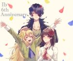 1boy 2girls :d anniversary arms_up black_flower blonde_hair blue_neckwear blush brown_hair clenched_hand closed_eyes confetti facing_viewer flower garry_(ib) hair_flower hair_ornament hair_over_one_eye hand_on_another's_head ib ib_(ib) light_smile long_hair mary_(ib) medium_hair multiple_girls oga_sleep open_mouth red_flower red_neckwear smile upper_body very_long_hair white_background yellow_flower
