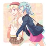 2girls :d alternate_hairstyle aqua_hair bag bang_dream! bangs beret black_jacket blonde_hair braid brown_skirt clothes_writing collared_shirt drop_shadow e20 earrings from_side green_eyes hair_ornament hair_over_one_eye hairpin hand_holding hat hikawa_hina holding_strap jacket jewelry long_sleeves looking_at_another miniskirt multiple_girls open_mouth outline pink_skirt plaid plaid_skirt pleated_skirt red_hat shirasagi_chisato shirt shoulder_bag single_braid skirt smile twin_braids violet_eyes white_outline white_shirt