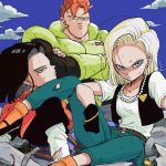 1girl 2boys android_16 android_17 android_18 belt black_footwear black_gloves black_hair black_shirt blonde_hair blue_eyes blue_sky bracelet brother_and_sister clouds cloudy_sky commentary_request crossed_arms day denim dirty dirty_clothes dirty_face dragon_ball dragonball_z earrings elbow_rest expressionless eyelashes fingernails frown gloves jeans jewelry long_sleeves looking_away looking_back messy_hair multiple_boys neckerchief necklace orange_hair orange_legwear orange_neckwear outdoors pants pearl_necklace red_ribbon_army rock serious shaded_face shirt short_hair siblings single_earring sitting sky socks spiky_hair tkgsize twins twitter_username waistcoat white_shirt