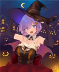 1girl :d black_gloves black_hat bow breasts choker cleavage crescent_moon elbow_gloves eyebrows_visible_through_hair fang fate/grand_order fate_(series) fingerless_gloves gloves hair_between_eyes hair_ornament halloween halloween_costume hat highres jazztaki large_breasts looking_at_viewer mash_kyrielight moon open_mouth purple_hair red_bow red_skirt short_hair skirt smile solo standing violet_eyes witch witch_hat