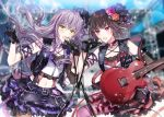 2girls :o armband bang_dream! bangs belt black_belt black_gloves black_hair black_vest blurry blurry_background cable chain_necklace choker commentary_request crossed_bangs detached_sleeves electric_guitar flower glint gloves guitar hair_flower hair_ornament hair_ribbon holding_cable instrument lavender_hair lens_flare long_hair microphone microphone_stand midriff minato_yukina mitake_ran multicolored_hair multiple_girls navel nennen o-ring o-ring_choker orange_flower orange_rose pantyhose pink_flower pink_legwear pink_rose purple_hair purple_ribbon purple_skirt red_skirt redhead ribbon rose scaffolding short_hair single_detached_sleeve skirt strap streaked_hair studded_belt studded_choker suspenders thigh_strap vest violet_eyes yellow_eyes