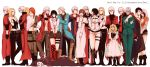 6+boys 6+girls bandage bandaged_head bandages bell belt belt_buckle black_hair blonde_hair blue_coat blush boots braid brown_hair buckle coat collar covering_mouth crossed_arms crying dante_(devil_may_cry) devil_may_cry devil_may_cry_2 devil_may_cry_3 devil_may_cry_4 dmc:_devil_may_cry dress fingerless_gloves formal gilver gloves hand_over_own_mouth highres jester_(dmc3) jewelry kat_(devil_may_cry) kyrie lady_(devil_may_cry) long_hair lucia_(devil_may_cry) medium_hair multiple_boys multiple_girls necklace nero_(devil_may_cry) open_mouth orange_hair patty_lowell red_coat scar short_hair short_shorts shorts simple_background smile standing stepped_on stepping suit sweatdrop trish_(devil_may_cry) vergil white_background white_hair yunako_(nkmichi)