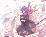 1girl barefoot breasts brown_hair closed_eyes dress flower gradient_hair highres hijiri_byakuren juliet_sleeves layered layered_clothing layered_dress long_hair long_sleeves looking_at_viewer multicolored_hair nga_(artist) petals puffy_sleeves purple_hair simple_background solo touhou violet_eyes water wavy_hair