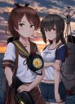 2girls black_hair braid brown_eyes brown_hair brown_sailor_collar brown_skirt cannon casual commentary_request cowboy_shot denim denim_shorts hair_between_eyes highres horizon ichikawa_feesu isonami_(kantai_collection) kantai_collection looking_at_viewer machinery multiple_girls ocean outdoors ponytail raglan_sleeves sailor_collar school_uniform serafuku shikinami_(kantai_collection) short_hair short_ponytail shorts sidelocks skirt smokestack standing sunset torn_clothes turret twin_braids