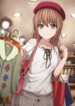 1girl bag bang_dream! bangs beret blurry blurry_background brown_hair brown_hat clothes clothes_hanger clothes_rack collarbone cross-laced_clothes green_eyes grey_skirt hand_up hat highres imai_lisa indoors long_hair looking_at_viewer mannequin narafume plaid plaid_skirt red_hat shirt shopping shopping_bag short_sleeves shoulder_bag shoulder_cutout skirt smile solo white_shirt