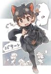 3girls apron bare_shoulders bird_tail bird_wings black_hair bow bowtie brown_hair check_character cloak commentary_request detached_sleeves extra_ears fang greater_lophorina_(kemono_friends) hat head_wings highres kemono_friends kolshica loafers multicolored_hair multiple_girls open_mouth pantyhose pleated_skirt shoes short_hair skirt tasmanian_devil_(kemono_friends) tasmanian_devil_ears tasmanian_devil_tail translation_request tripping western_parotia_(kemono_friends) white_hair wings